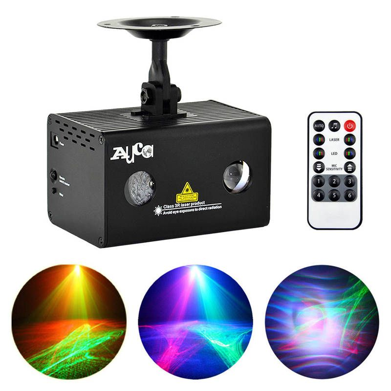 AUCD Mini Portable IR Remote 200mW RG Laser 9W RGB LED Aurora Mix Effects Projector Stage Lights Home Party DJ Show LL-A200RG