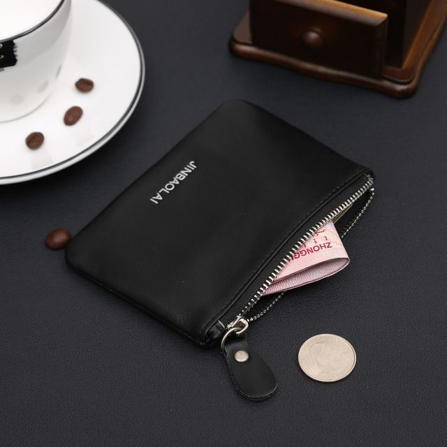 Fashion New Hot Sale Quality Zipper Men Women Dollar Coins Pocket Black Coffee Genuine Leather Coin Purses Free Shipping