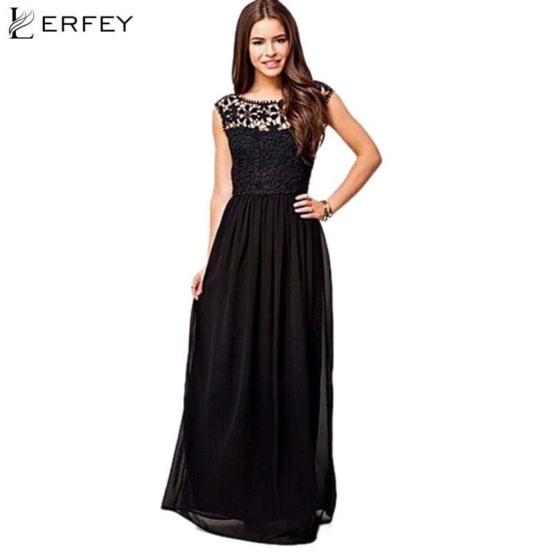 LERFEY Lady Sleeveless Summer Dresses Formal Long Lace Chiffon O-neck Women Prom Evening Party Bridesmaid Wedding Maxi Dress