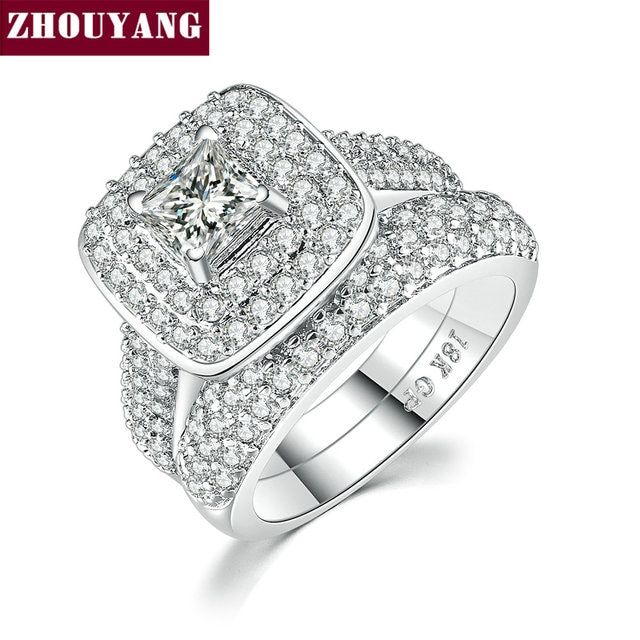 Classic Marquise Square Cubic Zirconia 2 Rings Sets WhiteRose Gold Color Party Wedding Jewelry For Women Christmas Gift ZYR709