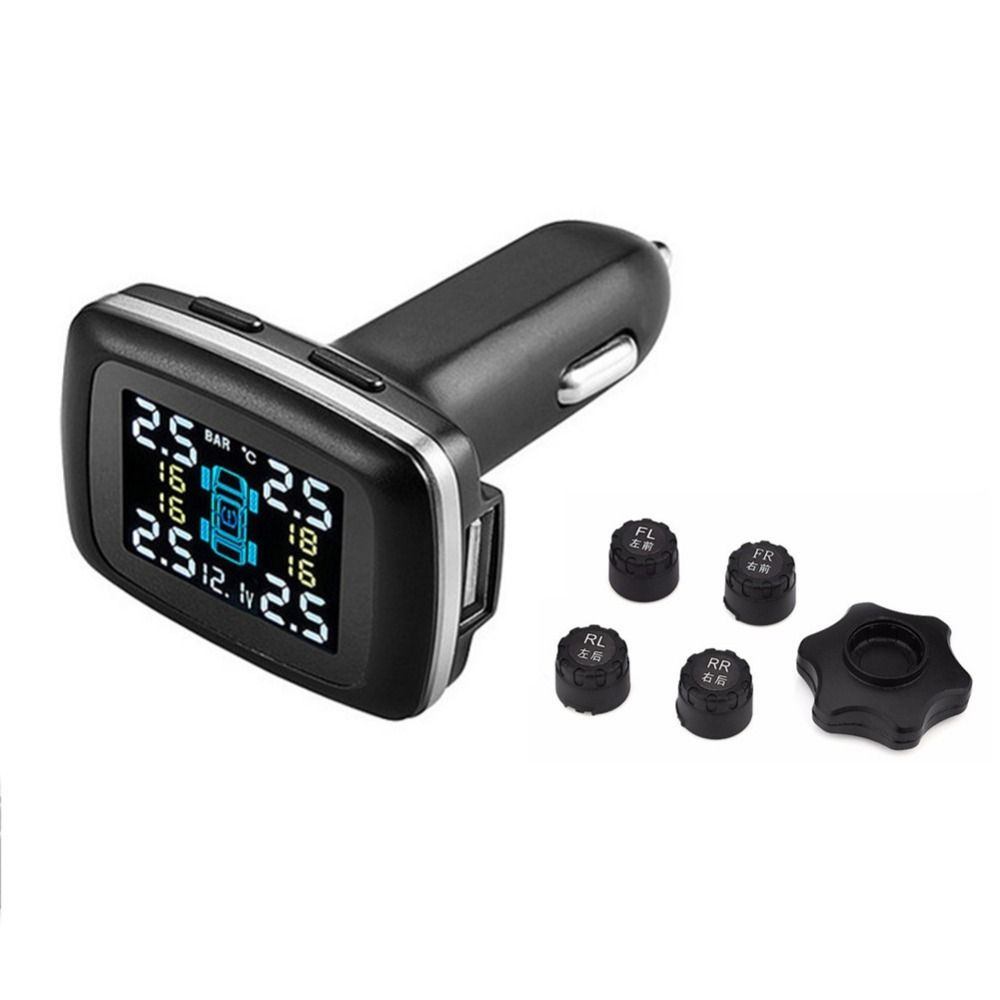 TP620 Professional 12V Wireless Smart TPMS Tire Pressure Monitoring System Real Time Digital Car Charger Tire Pressure Alarm