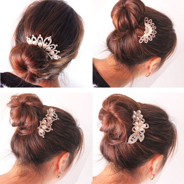 1pcs Crystal Rhinestone Flower Wedding Party Bridal Hair Comb Hairpin Clip Jewelry