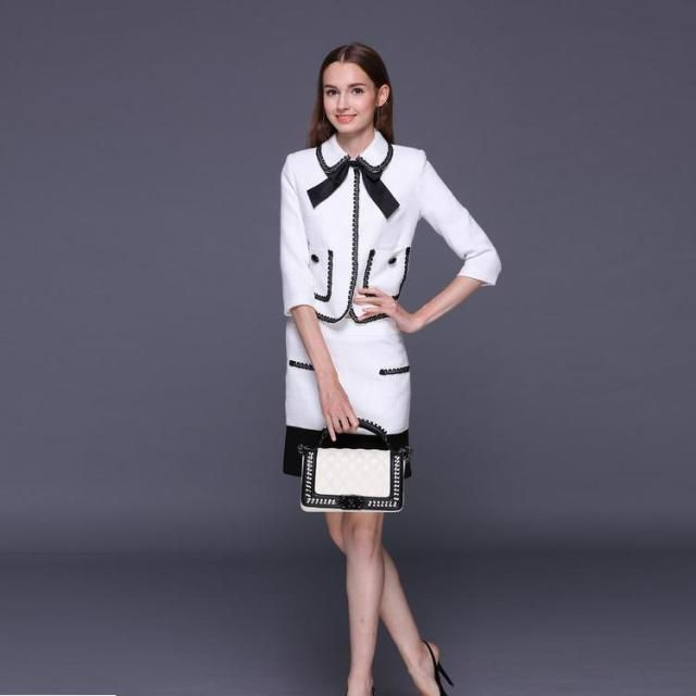 XXXXL!High Quality New Fashion Business Suit 2016 Autumn Women Black Lace Patchwork White Coat+Bodycon Pencil Skirt(1Set)2pcs