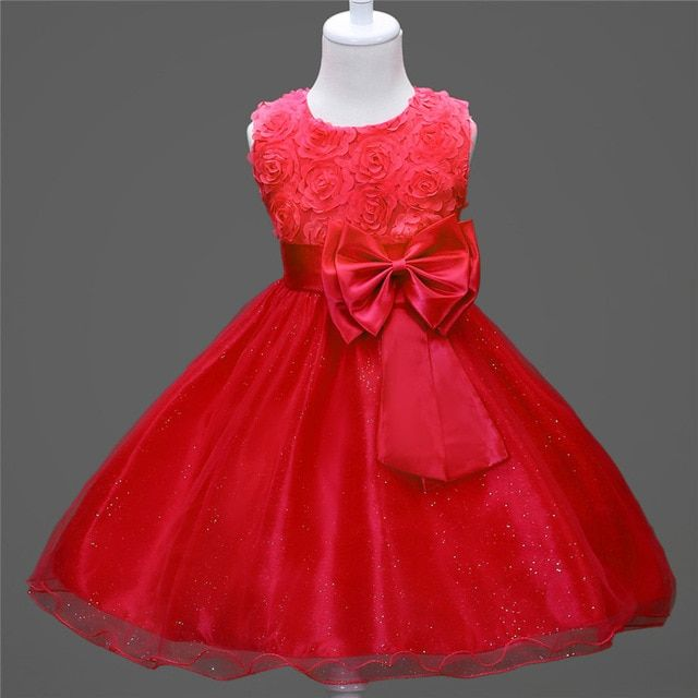 2017 bruidsmeisjes jurk kids summer sleeveless roses flower girls bow clothing purple royal blue deep pink red girls dresses