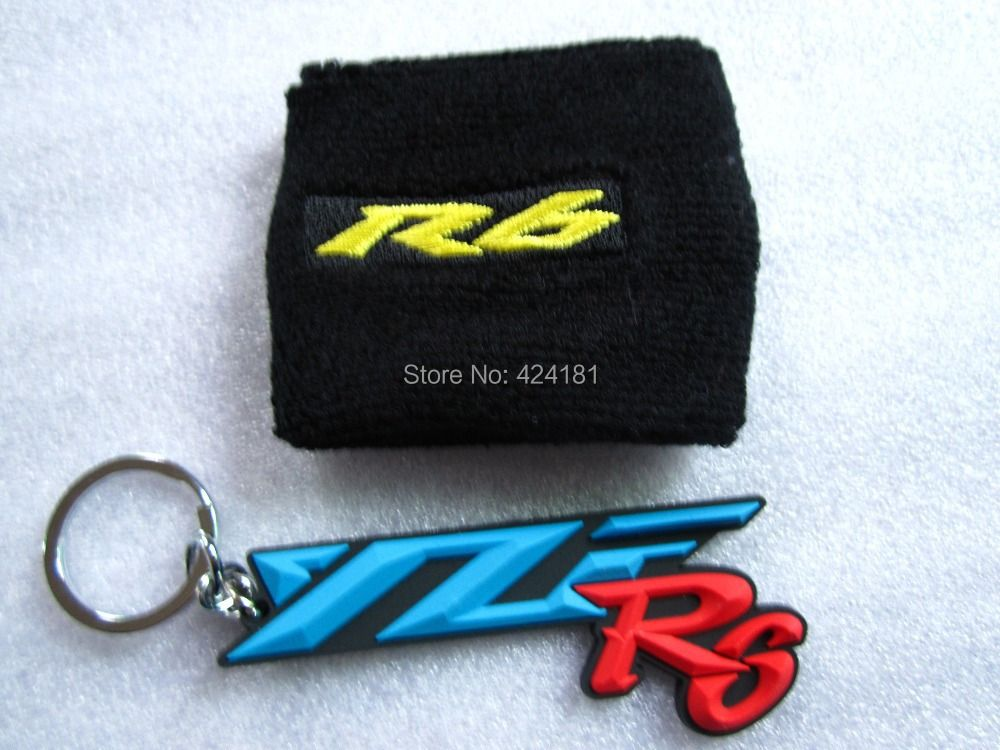 Motorcycle 3D Rubber Keyring Keychain & Brake Reservoir Sock Oil Fluid Tank Cover Sleeve For YZF R6