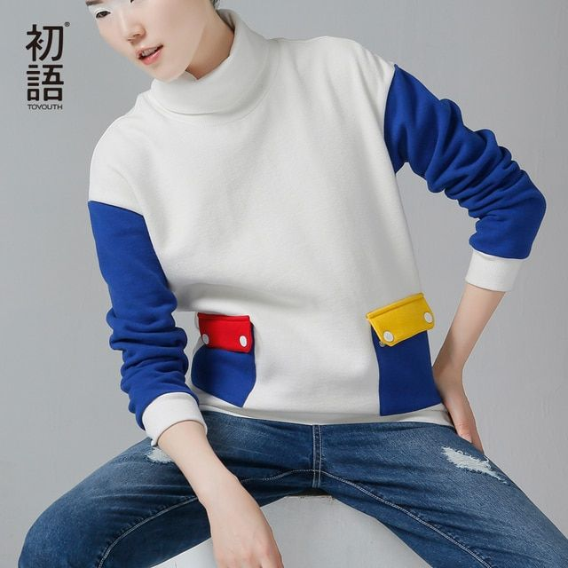 Toyouth 2017 Autumn Winter New Sweatshirts Women Turtle Neck Slim Pullovers Color Contrast All Match Tops