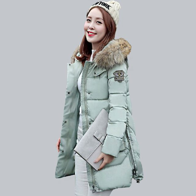 2016 Winter Jacket Women Cotton Padded Coats Fur Collar Thickening Parkas For Women Winter Coat Jackets