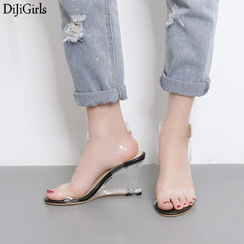 Crystal Shoes Women Fashion Ankle Strap High Heel Sandals Transparent Wedges Heel Sandals 2019 Summer Gladiator Sandals Women