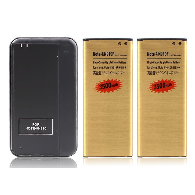 High Quality 2x 3500mAh Replacement  Lithium-ion Battery + Wall Charger For Samsung Galaxy Note 4 IV Note 4 N9100 N910F N910H