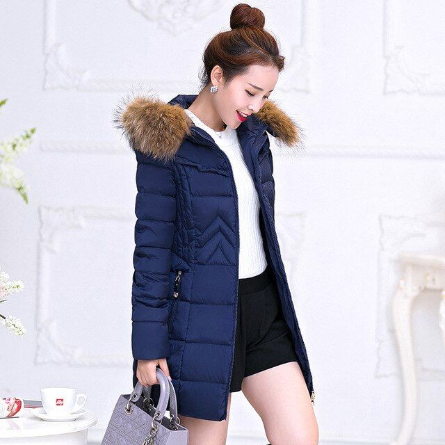 2016  Women's winter jacket down coat female jacket parka  Cotton warm  Warm Winter Fur Collar Plus Size Parkas for Women