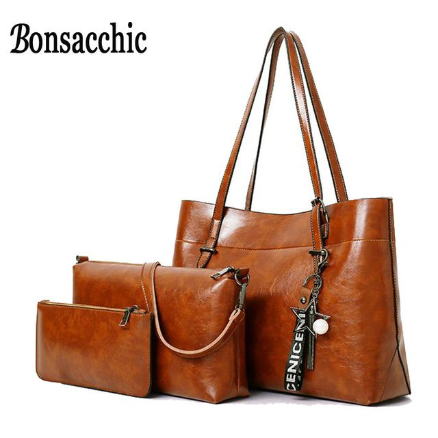 Bonsacchic 3pcs Leather Bags Handbags Women Famous Brand Shoulder Bag Female Casual Tote Women Messenger Bag Set Bolsas Feminina