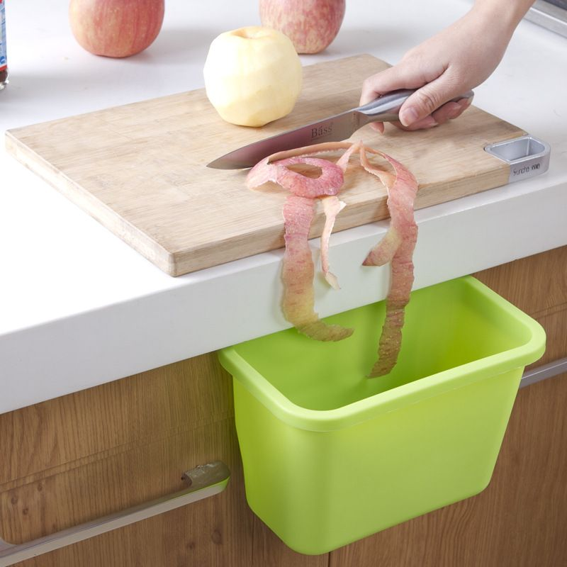 Simple And Stylish Kitchen Garbage Box, Cabinet Doors Hanging Trash Can Peel Creative Storage Box