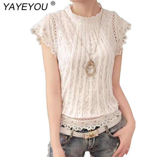 YAYEYOU 2017 Summer Women Blouses Fashion Plus Size Crochet Hollow out Lace Blouse Petal Sleeve White Slim Tops Shirts 3XL
