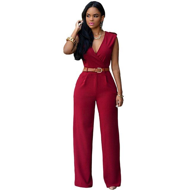 Women Plus size Waistbelt Romper Women shoulder tabs and side pockets Jumpsuits wide leg Long Pants Palazzo Overalls XXL E64003