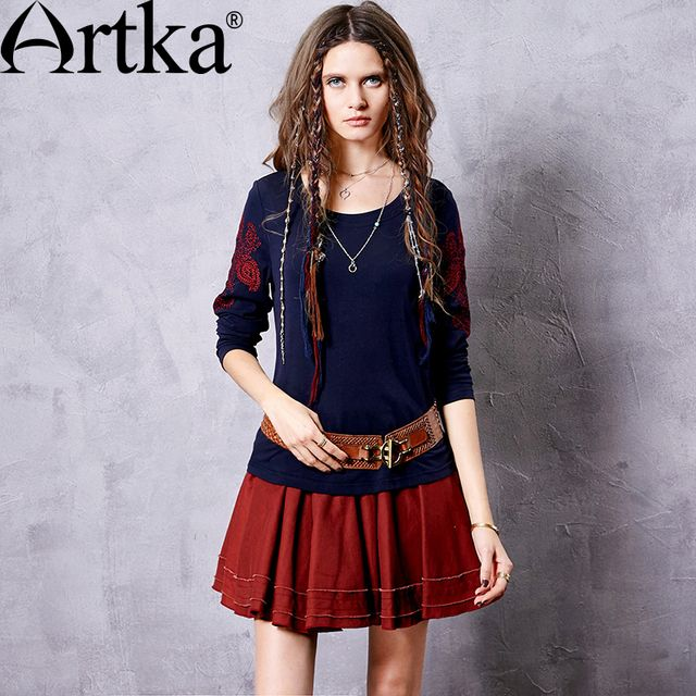Artka Women's S New Deep Blue Ethnic Embroidery Comfy T-Shirt Fashion O-Neck Long Sleeve Sim Fit All-match Tees TA10269Q