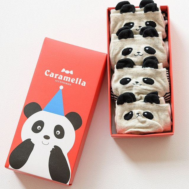2016 summer cartoon panda cotton women socks cute 4 pairs a gift box harajuku calcetines mujer casual sokken ankle socks meias