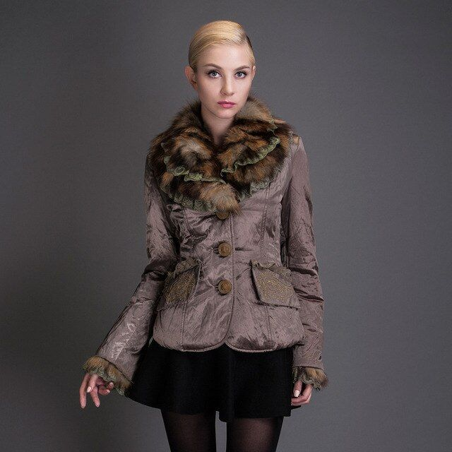 BASIC EDITIONS Winter Slim Jackets Metallic Silk Fabric Double Raccoon Fur Collar Coats S-XL 1842