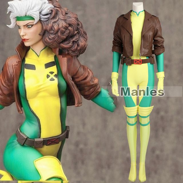 X-Men Rogue Costume Cospaly Marvel Comics Superhero Cosplay Costume Mary Adult Women Full Set Leather Halloween Christmas Custom