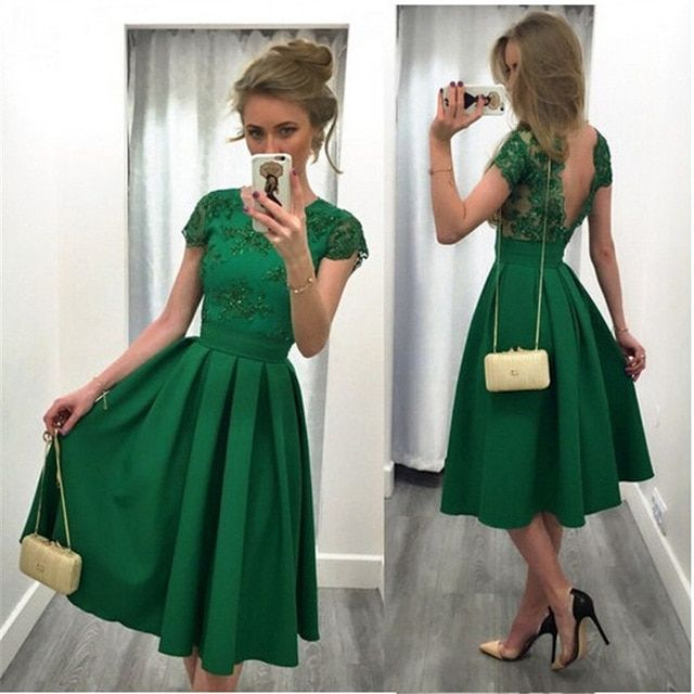 2017 Green A Line Party Prom Dresses Short Sleeve Jewel Neck Sexy Backless wedding party Gowns Ruffle Knee Length Robe De Soiree