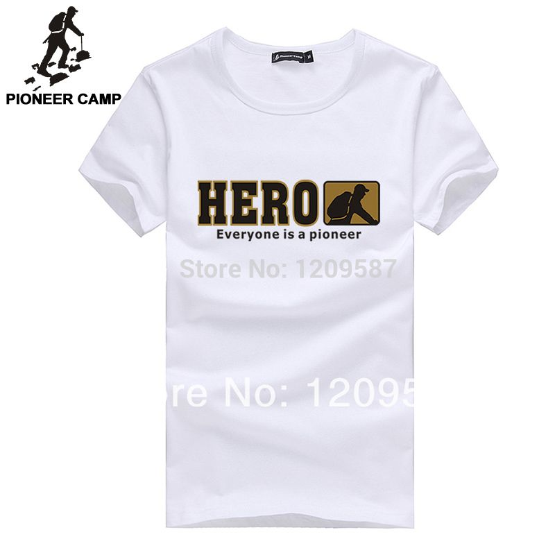 Pioneer Camp men t shirt new 2017 cotton simple print pattern casual Tshirt plus size fashion design brand clothing Male T-shirt