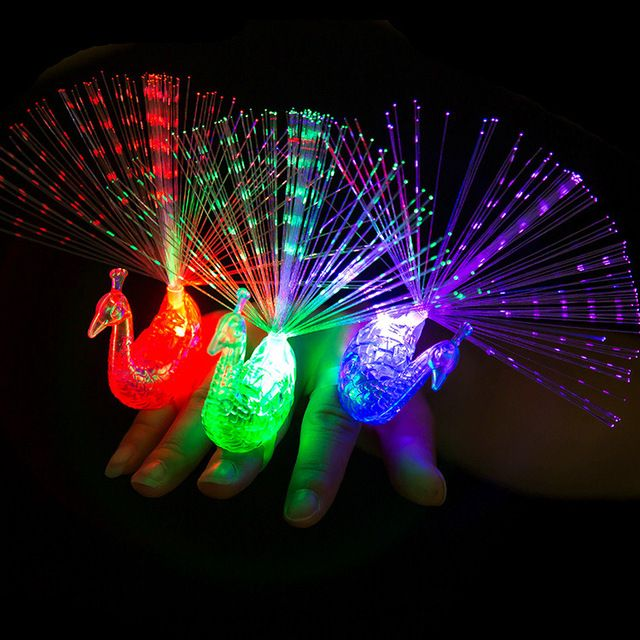 Creative luminous Ring, Finger Light Colorful Luminous Color Peacock Shape Finger light-emitting Children's Toys
