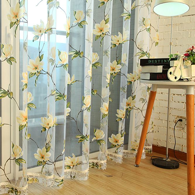 Quality curtain window screening finished product rustic floral burnout voile tulle curtain drape