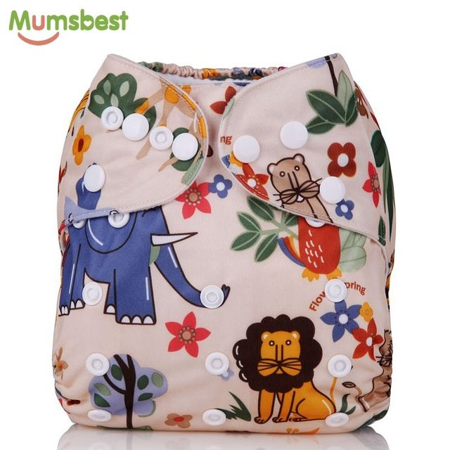 [Mumsbest] 2016 New Style Baby Cloth Diaper Cover One Size Adjustable Washable Nappy Cartoon Reusable Cloth Nappies Diapers