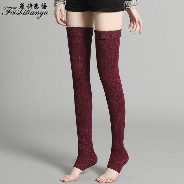 Fashion Stockings Women Design Thigh High Thick Over the Knee Long Cotton Knitting Hosiery Ladies Women Solid Harajuku