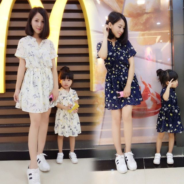 1pc Family Girl Mother Dress Summer Fashion Matching Mom Baby Kids Half-open Collar Short Chiffon Floral Dresses Clothes Outfits