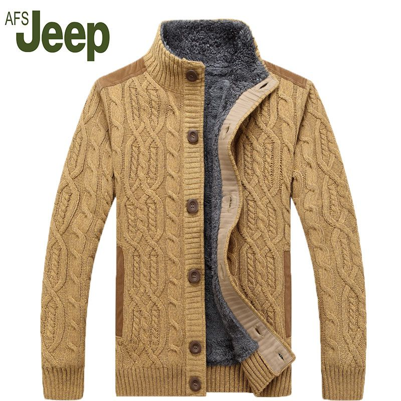AFS JEEP / Battlefield Jeep 2016 warm thick velvet cardigan sweater men's winter jacket Men stand collar loose sweater 160