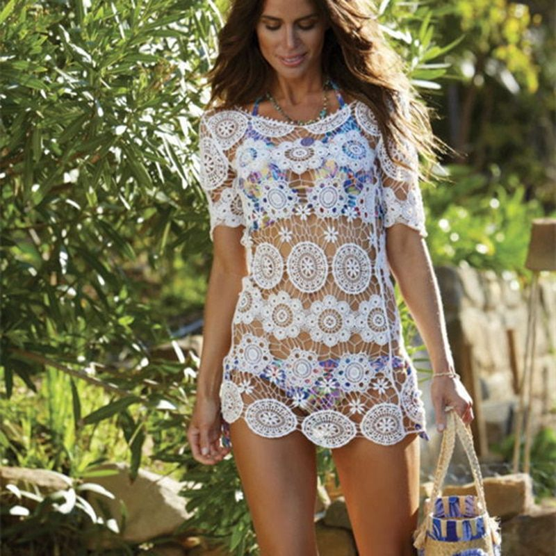 Beach Tunic Cover Up Sexy Design Saida De Praia Swimsuit white Crochet Bikini Dress Robe De Plage bikini women swimwear