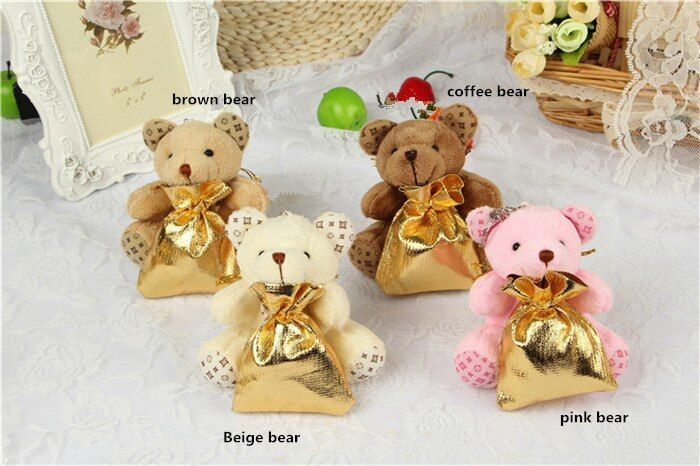 6x8.5cm cute Bear Favor Bag-12set bear organza bag Jewelry Gift baby shower gift bag Wedding Bag Pouch candy box party supplies