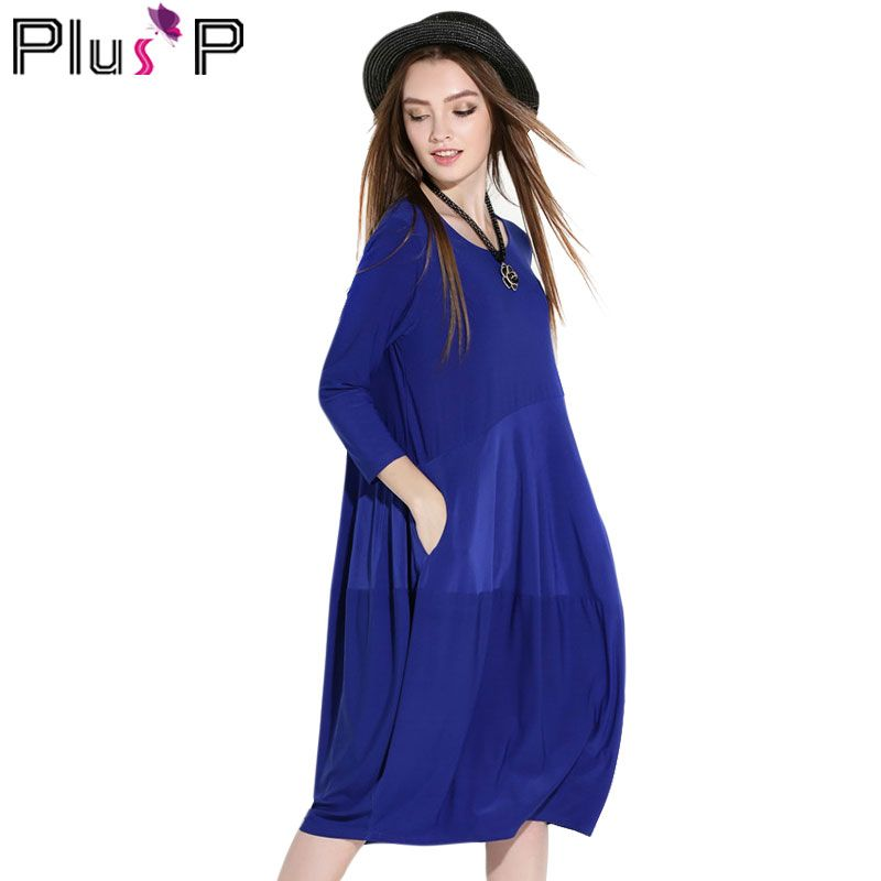 PP Women Winter Dresses 2016 Long Sleeve Kintted Lantern Vintage Loose Elegant Black Blue Red Plus Size Clothing Dresses WP00881
