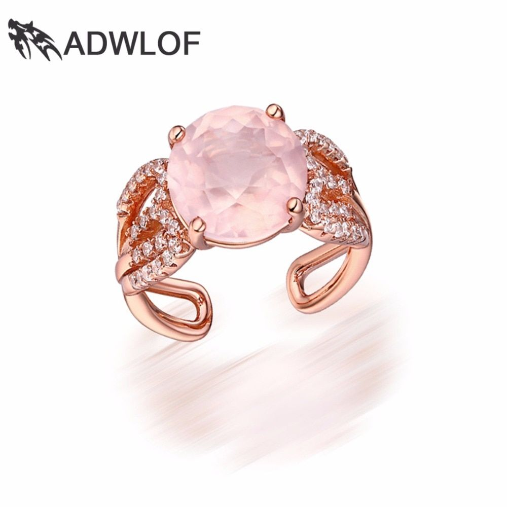 ADWLOF 4.20CT Round Cut Natural Rose Quartz Rock Crystal Quartz Rings 925 Sterling Silver for Lovers Engagement Fine Jewelry