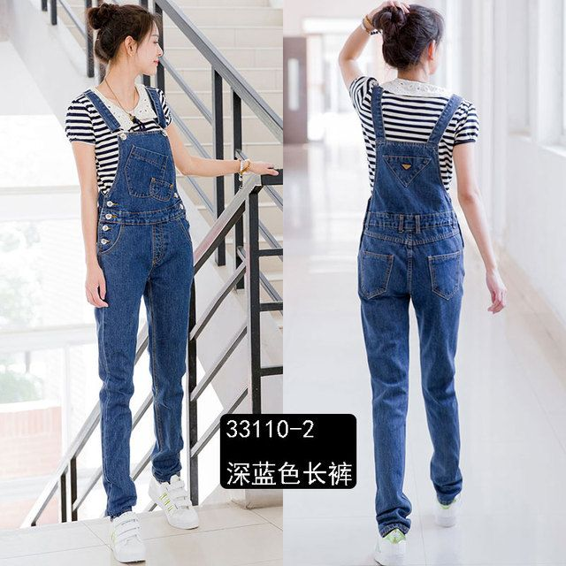 Free Shipping 2016 Long Jumpsuit And Rompers Denim Bib Pants Preppy Style Trousers Spaghetti Strap High Quality Plus Size XS-3XL