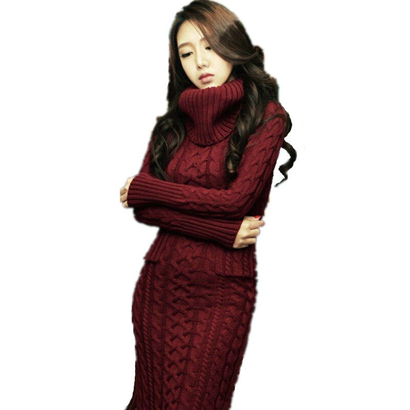 2017 New Women Korean Winter Dress Female Long sleeved High-necked Knit Dress Cotton Flax Women Long Slim Thick Sweater DressH13