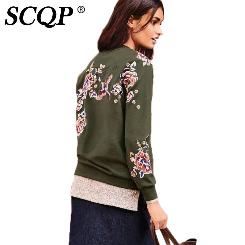 SCQP Floral Bird Embroidered Women Sweatshirt Army Green Lady Casual Tracksuit Womens Fashion Street Pullovers Autumn 2016 Women