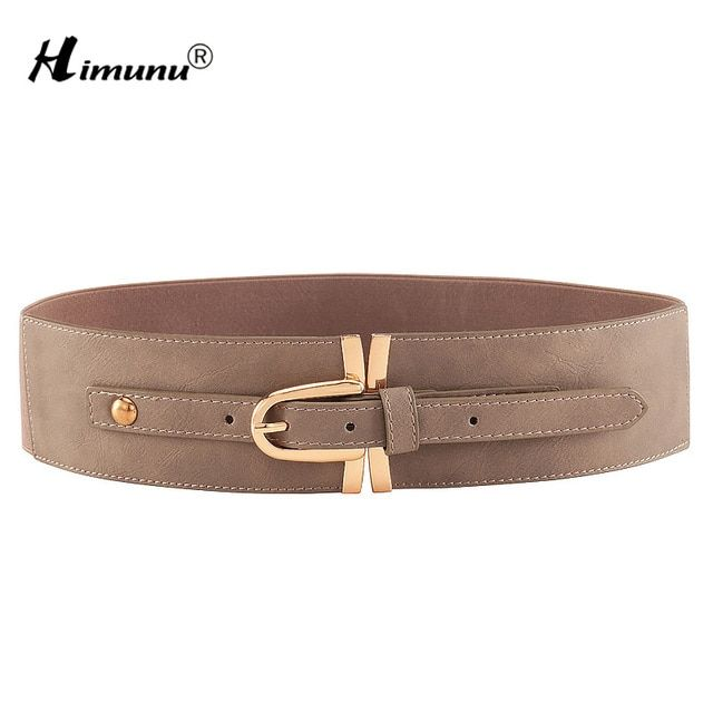 Lady Pin Buckle Leather Belt For Women Casual Wide Elastic Women Belts Waist Decoration Belt