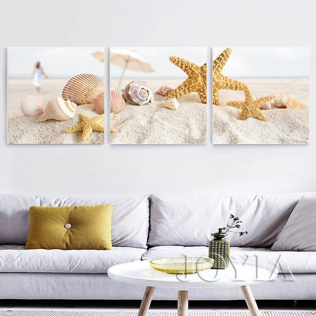 3 Piece Modern Beach Painting Canvas Sand Shell Wall Art Pictures For Home Decoration Living Room Bedroom Decor Not Framed