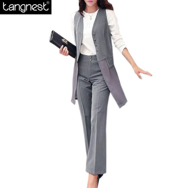 TANGNEST Fashion Women Suits Set 2017 Office Lady Long Blazers Plaid Pants Suit Casual Female Slim OL 3 Pieces Sets WAT847