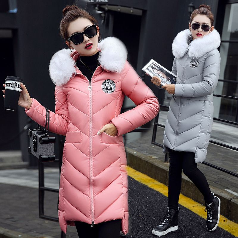 Fashion Women's Winter Coat Warm Cotton Down Coats PU Leather Fur Hooded Long Jacket For Women Coat Winter Outwear Parkas Female