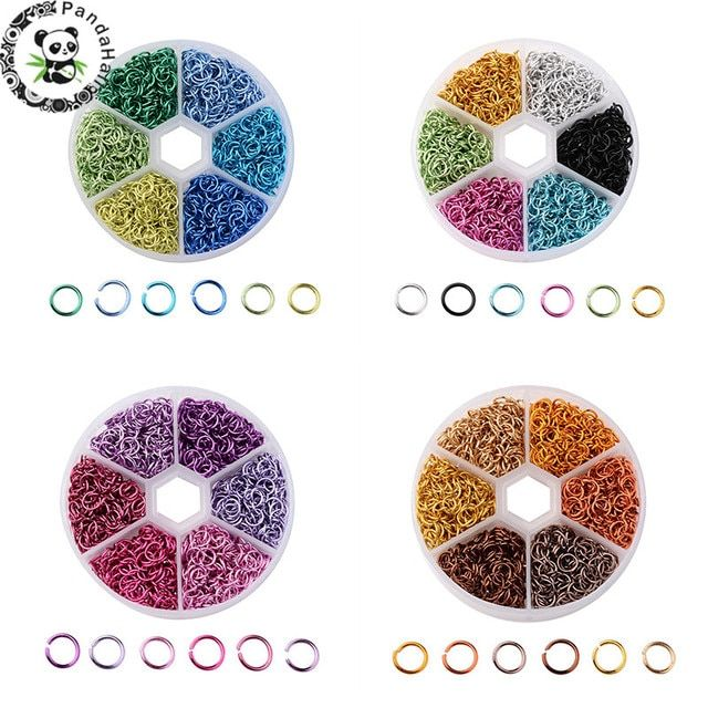 PANDAHALL Aluminum Wire Open Jump Rings Split Rings Mixed Color For Jewelry Findings DIY Necklace Bracelets 6x0.8mm 1080pcs/box