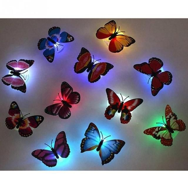 10 pcs/lot New Arrival Beautiful 3D Butterfly LED Light Lamp With Suction Pad For Christmas Wedding Decoration Lamp