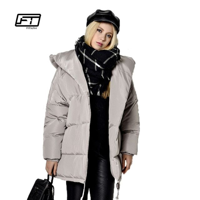 new 2017 winter women parkas irregular loose fit bread snow hooded jacket plus size 90% white duck down maternity coat