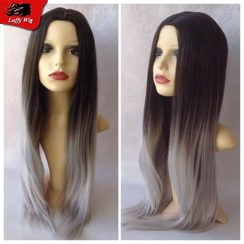 #1b/Gray Full Lace Human Hair Wig Ombre Glueless Malaysian Virgin Hair Straight Front Lace Wig With Middle Part Bleached Knots
