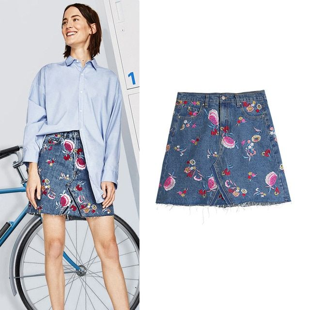 2017 Top Fashion Women Clothing Mini Skirts High Waist Washed Skirt Floral Embroidery A-line Skirts Ladies Cotton Denim Skirting