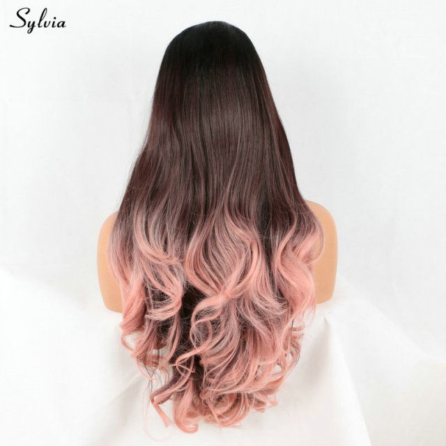 Sylvia Long Dark Roots To Brown Ombre Rose Pink Synthetic Lace Front Wigs Middle Part For Women Heat Resistant Fiber Body Wave