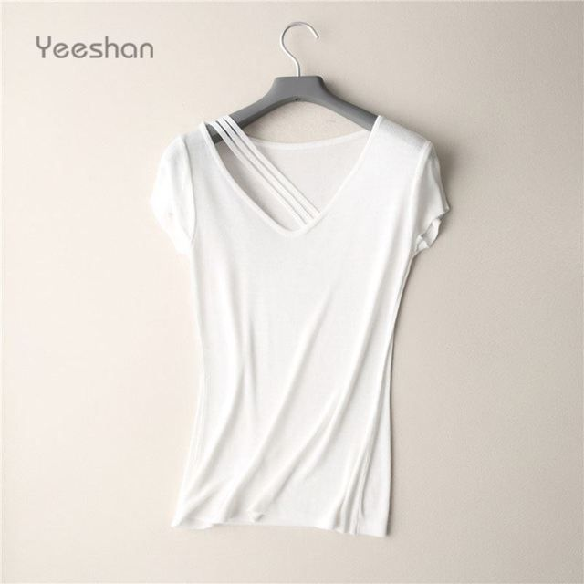 Yeeshan Knitting Ramie T-shirts Women Short Sleeve Top Dark Blue V-Neck Female T-shirt Tops Summer 2017