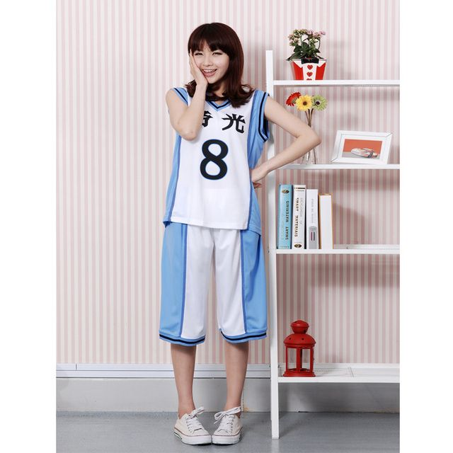 Anime Kuroko no Basuke Basketball cosplay Costume Uniform Kise Ryota Jersey camiseta NO.8 free shipping Top+Pants New