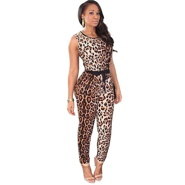 2016 New Summer Sexy Club Jumpsuit Women Leopard Print Rompers Black Shorts Bodycon Bodysuit Playsuit Overalls for Women